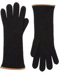 Barneys New York Black Double-Knit Gloves - Lyst