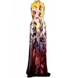 Matthew Williamson Hibiscus Silk Chiffon Gathered Gown - Lyst