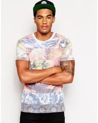 Asos Tshirt with Spliced Pattern Print - Lyst