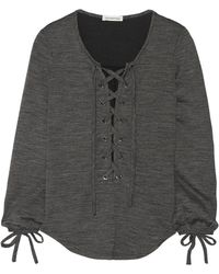 Etoile Isabel Marant Woody Lace-up Jersey Top - Lyst