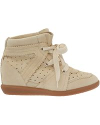 Isabel Marant Ivory Bobby Suede Wedge Trainers - Lyst