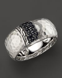 John Hardy Womens Palu Silver Lava Overlap Band Ring with Black Sapphires - Lyst