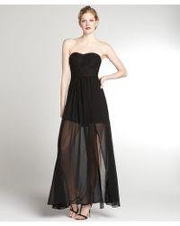 Aryn K. Black Stretch Chiffon Strapless Gown - Lyst