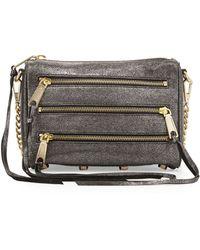 Rebecca Minkoff Five-zip Mini Metallic Crossbody Bag - Lyst