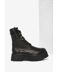 Nasty Gal Armada Leather Boot black - Lyst
