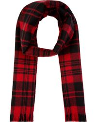 Saint Laurent Red and Black Wool Plaid Scarf - Lyst