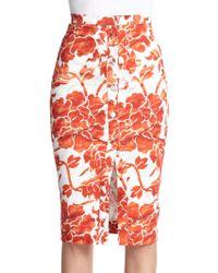 Altuzarra Balthazar Floral-Print Skirt red - Lyst