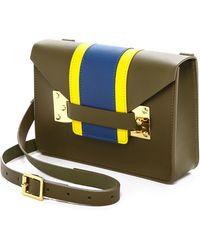 Sophie Hulme Mini Envelope Bag - Khaki/Yellow/Klein Blue - Lyst