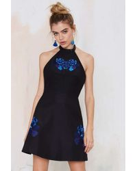 Nasty Gal Keepsake Light Fields Embroidered Dress black - Lyst