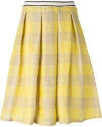 Erika Cavallini Semi Couture Checked Pleated Skirt - Lyst