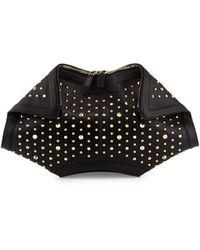 Alexander McQueen De-Manta Studded Leather Clutch Bag black - Lyst