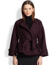 Burberry Barwell Short Belted Wool Cape Coat - Lyst