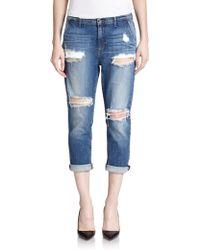 Koral Distressed Cropped Boyfriend Jeans - Lyst