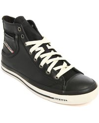Diesel Exposure 2 Black Leather High-Top Sneakers - Lyst