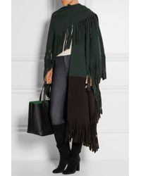 Burberry Prorsum - Color-block Fringed Wool-blend Felt Poncho - Lyst