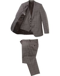 Hugo Boss Huge/Genius We | Slim Fit, Super 130 Virgin Wool 3-Piece Suit beige - Lyst