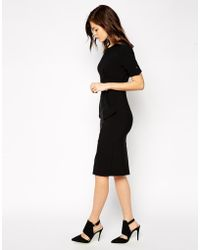 Asos Pencil Dress With Fold Pocket Military Detail - Lyst
