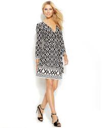 Inc International Concepts Petite Geo-Print Faux-Wrap Dress - Lyst