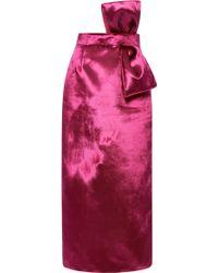 Katie Ermilio Panne Velvet Bow Pencil Skirt - Lyst