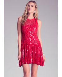 Bebe Embellished Drop Waist Dress - Lyst
