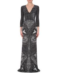 Roberto Cavalli Printed Jersey Gown - For Women, Yellow/Blk - Lyst