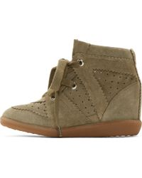 Etoile Isabel Marant Olive Suede Bobby Stainer Basket Sneakers - Lyst