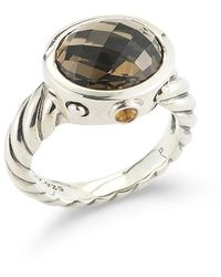 David Yurman Pre-Owned: Sterling Silver Renaissance Ring With Oval Smoky Quartz And Citrines - Lyst