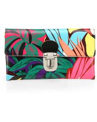 Marni Floral Faux-Leather Clutch - Lyst