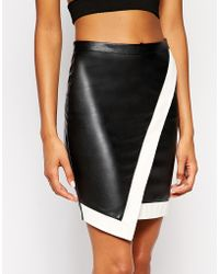 Lipsy - Asymmetric Skirt In Mono - Lyst