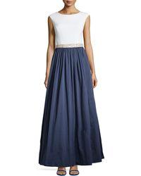 Aidan Mattox Jersey Bodice & Taffeta Skirt Gown - Lyst