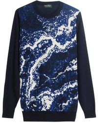 John Smedley Lithic Waves Wool Jumper - For Men blue - Lyst