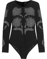Topshop Unique - Embroidered Stretch-Mesh Bodysuit - Lyst