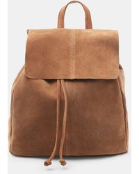 Mango Lapel Leather Backpack in Brown | Lyst