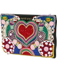Manish Arora Heart Embroidered Faux Leather Clutch - Lyst