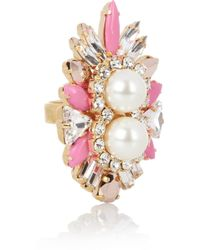 Shourouk | Lady Woolit Gold-plated Swarovski Pearl and Crystal Ring | Lyst