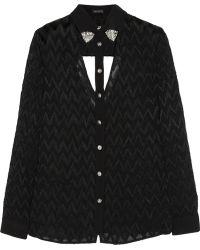 Versace Cutout Devoré Silk Shirt - Lyst