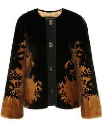 J. Mendel Shadow Floral Mink Jacket With Turn Closure Placket - Lyst