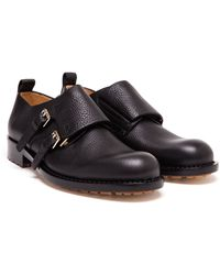 Valentino Grained Leather Monkstraps - Lyst