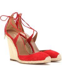 Aquazzura   Karlie 110 Wedge Suede Sandals   Lyst