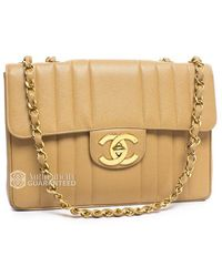 Chanel Pre-Owned Beige Caviar Vertical Stripe Single Jumbo Flap Bag beige - Lyst