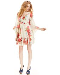 Betsey Johnson Bell-Sleeve Floral-Print Dress multicolor - Lyst
