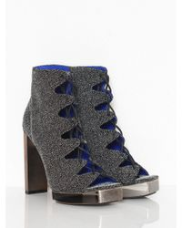 Jeffrey Campbell Lace Front Metallic Heel Shoes - Lyst