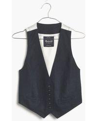 Madewell Linen Crop Vest blue - Lyst
