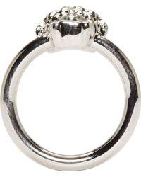 Versace Silver Slim Medusa Ring silver - Lyst