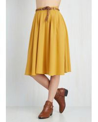 Hot & Delicious - Breathtaking Tiger Lilies Midi Skirt In Mustard - Lyst