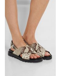 Marc By Marc Jacobs - Gramercy Snake-effect Leather Sandals - Lyst