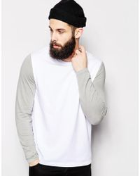 Asos Long Sleeve T-Shirt With Contrast Sleeves - Lyst