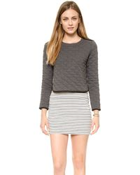 Madewell Soho Quilted Crop Pullover  Heather Charcoal - Lyst