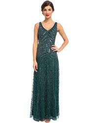 Adrianna Papell Long Beaded Dress - Lyst