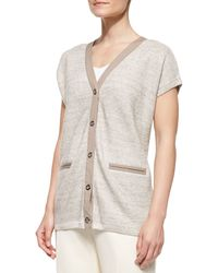 Lafayette 148 New York Shortsleeve Linen Cardigan Sweater - Lyst